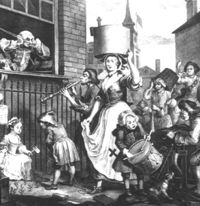 <em>London Street Cries</em> door William Hogarth, 18de eeuw.